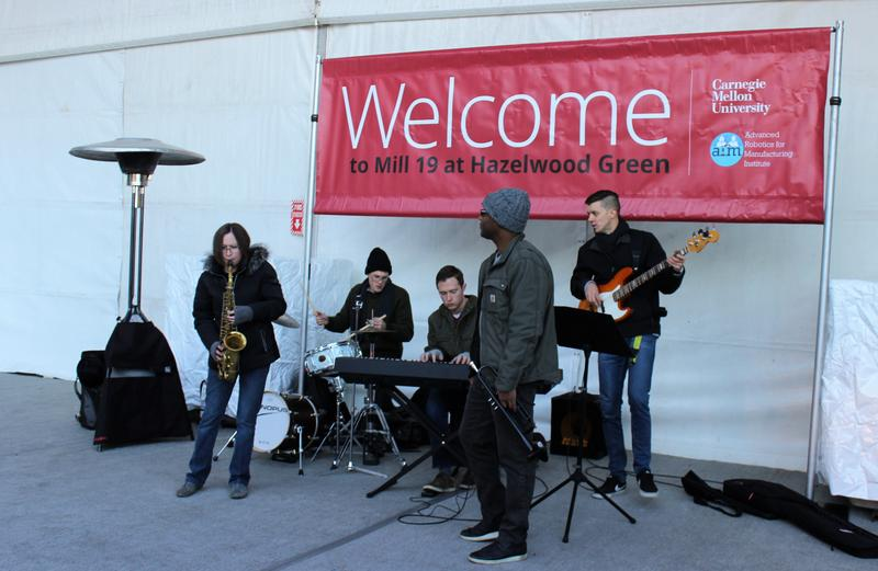 A live band from the Center of Life in Hazelwood greets visitors to the preview of the Mill 19 tenants, the Advanced Robotics for Manufacturing Institute on Monday, Nov. 20, 2017.
