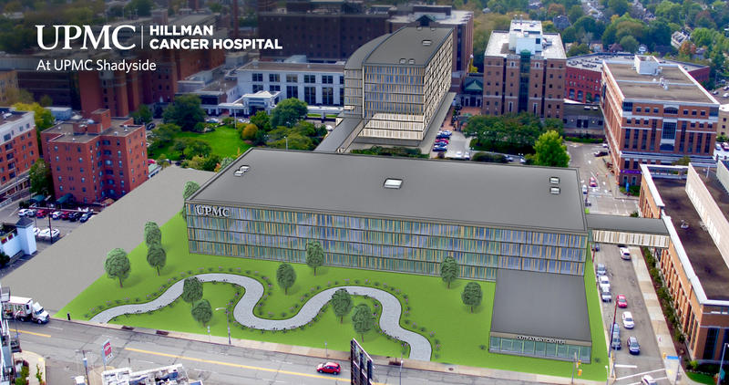 A mockup of the new Hillman Cancer Hospital near UPMC Shadyside.