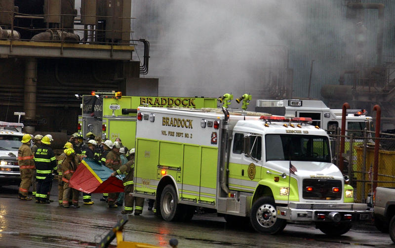 The Braddock Volunteer Fire Department responds Thursday morning, Nov. 18, 2004, to a spill of molten steel at U.S. Steel's Edgar Thompson Mill in Braddock, Pa.