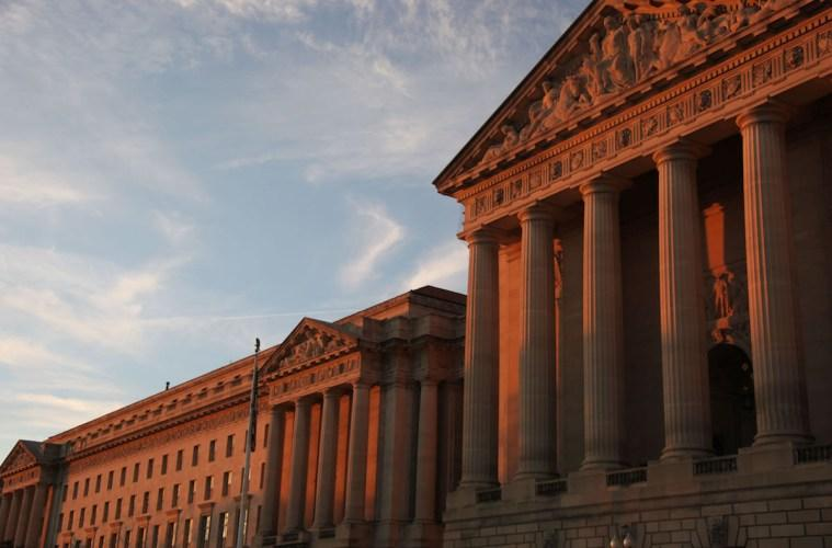 The North Building of EPA Headquarters (left) and Mellon Auditorium (right) at sunset in Washington D.C.