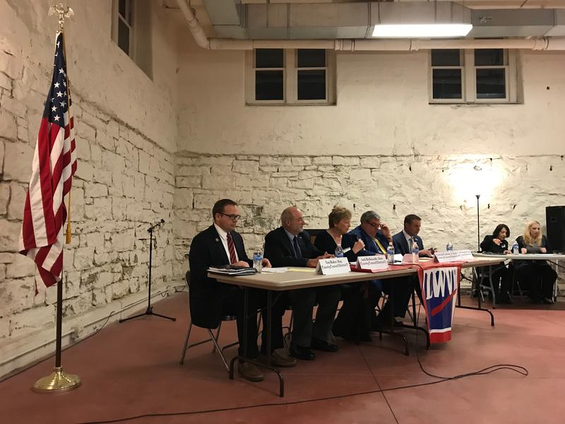 District 4 incumbent Patrick Catena (second from right) and his opponent, Dimitrios Pantzoulas (far right), participated in a candidates forum organized by the League of Women Voters of Greater Pittsburgh.