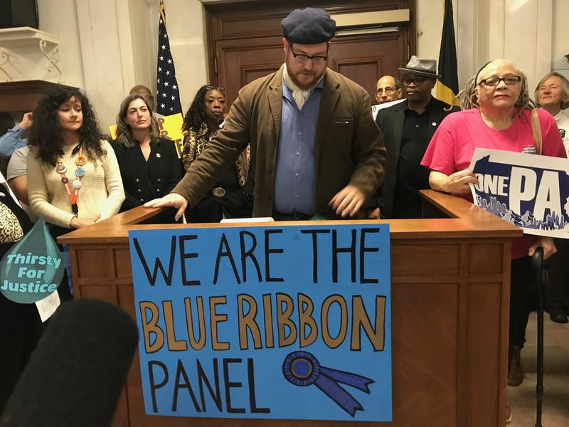 Pastor David Swanson of Pittsburgh Mennonite Church was one of more than 30 people who gathered before a consultant's final presentation on PWSA to demand the water and sewer authority remain publicly held.