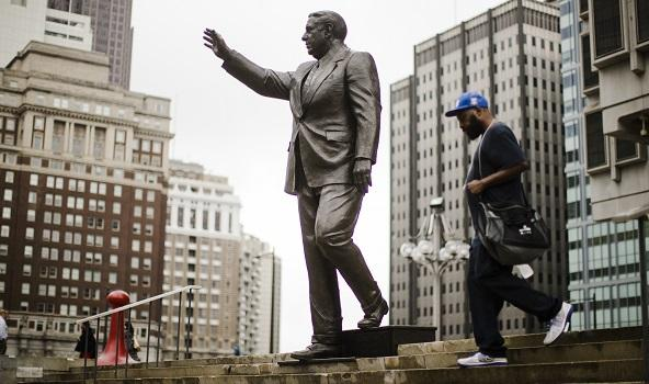 Shown is a statue of the late Philadelphia Mayor Frank Rizzo, who also served as the city's police commissioner, outside the Municipal Services Building in Philadelphia.