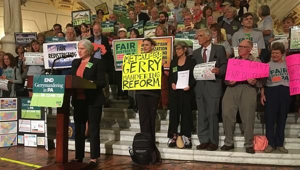 Advocates rally at the state Capitol in Harrisburg, pushing for a fair re-districting process.
