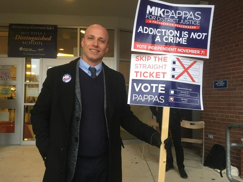 Mik Pappas campaigns outside Sunnyside PreK-8 school in Stanton Heights on Tuesday, November 8, 2017.