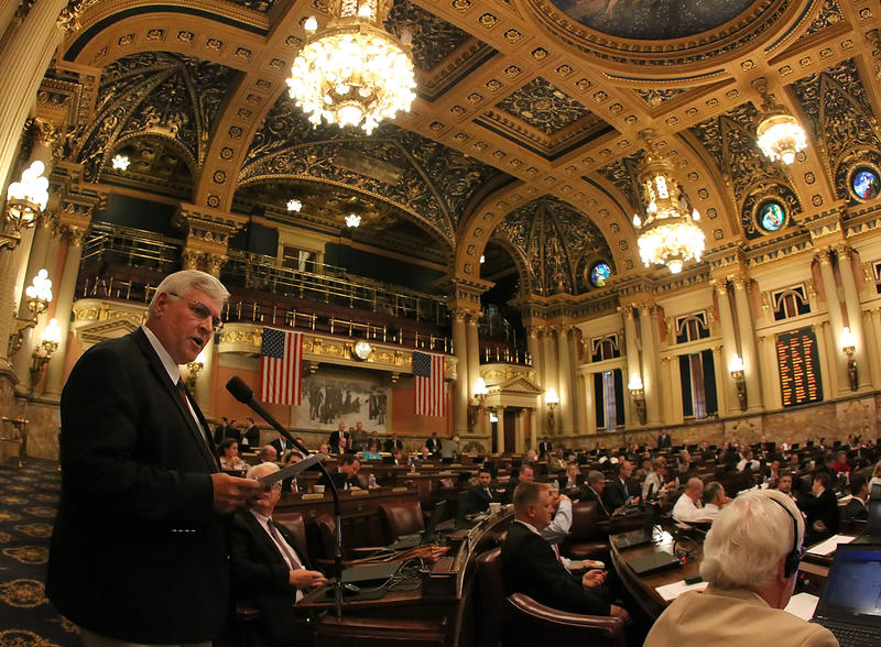 Rep. John McGinnis reads a statement on the floor of the House of Representatives at the state Capitol in Harrisburg.