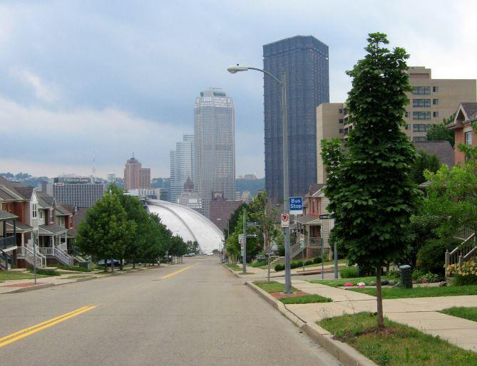 The Civic Arena is visible from the crest of Bedford Avenue in the Lower Hill District in Pittsburgh.