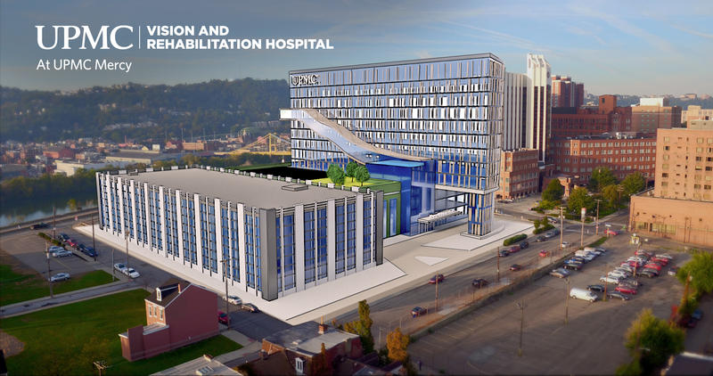 A mockup of the new Vision & Rehabilitation Hospital to be built near UPMC Mercy in Uptown.