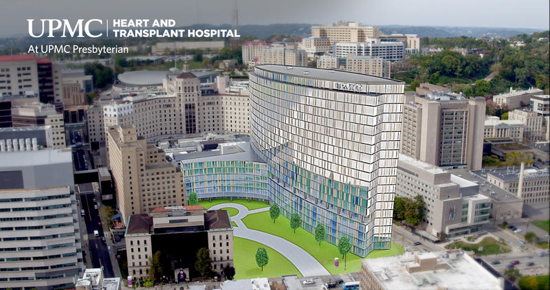A mockup of the new Heart & Transplant Hospital to be built near UPMC Presbyterian in Oakland.