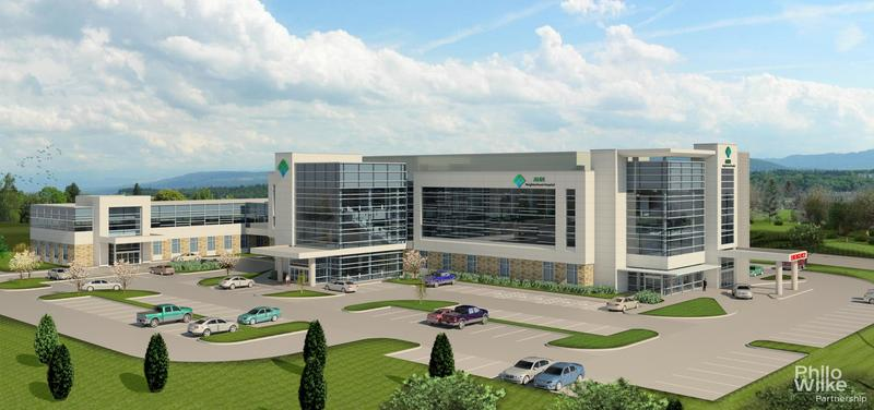 Allegheny Health Network's illustration of a proposed neighborhood hospital. The first of four will be located in Westmoreland County.