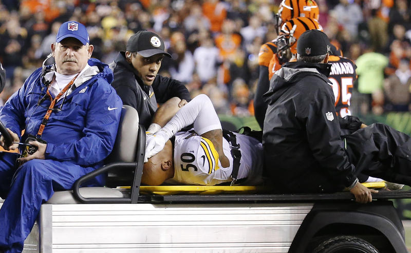 Pittsburgh Steelers inside linebacker Ryan Shazier (50) is carted off the field after a spinal injury in the first half of an NFL football game against the Cincinnati Bengals in Cincinnati on Monday, Dec. 4, 2017.