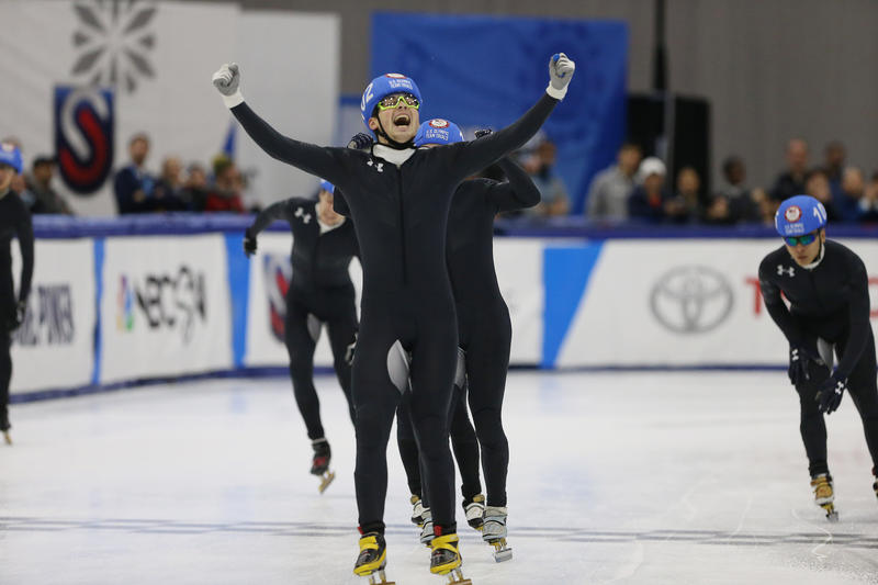 John-Henry Krueger, of Peters Township, celebrates after placing on the U.S. Olympic Team for the Winter Games in PyeongChang, South Korea.