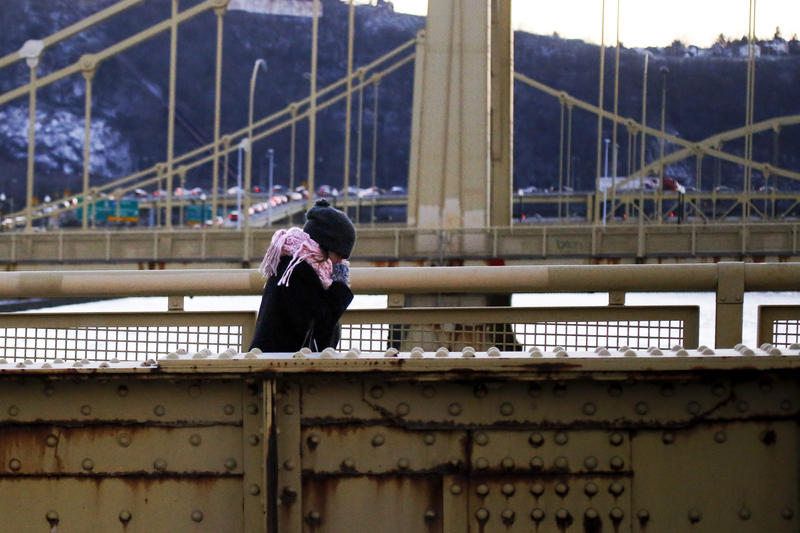 A woman bundled against the wind and cold walks across the Rachel Carson bridge over the Allegheny River in downtown Pittsburgh, Monday, Jan. 4, 2016.