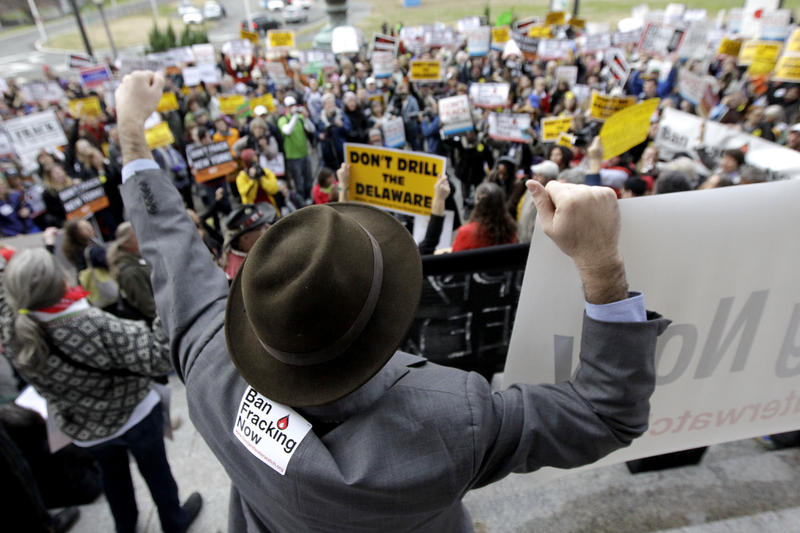 A group rallies against fracking in the Delaware River watershed.