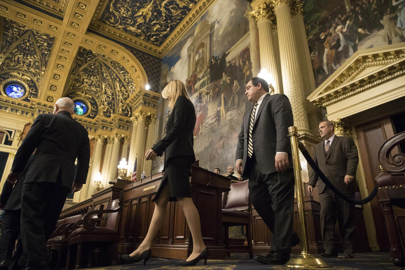 Electors arrive for Pennsylvania's Electoral College at the state Capitol in Harrisburg, Pa., Monday, Dec. 19, 2016.