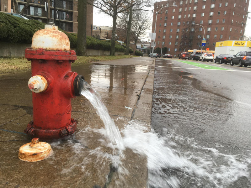 Water gushes from a fire hydrant on S. Negley Ave. in East Liberty on December 18, 2017, as crews respond to a water main break nearby on Centre Ave.