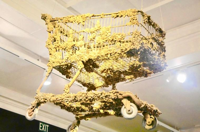 Zebra mussels encrust this shopping cart, found at the bottom of the Great Lakes.
