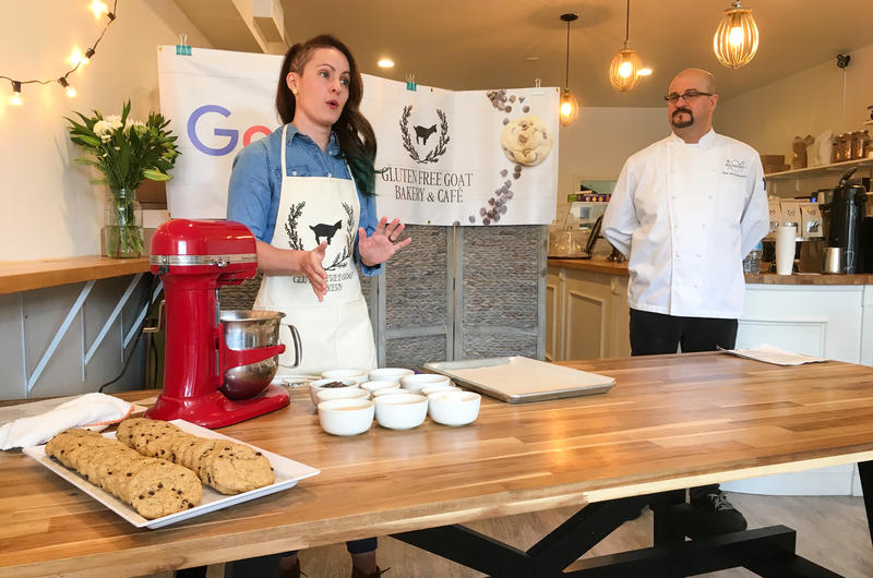 At the Gluten Free Goat Bakery in Garfield, owner Jeanette Harris gives a presentation on her new recipe as Google's local chef John Karbowski looks on.