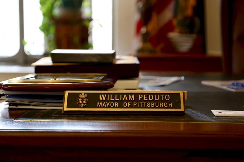 Mayor Bill Peduto's desk as seen on April 10, 2017.