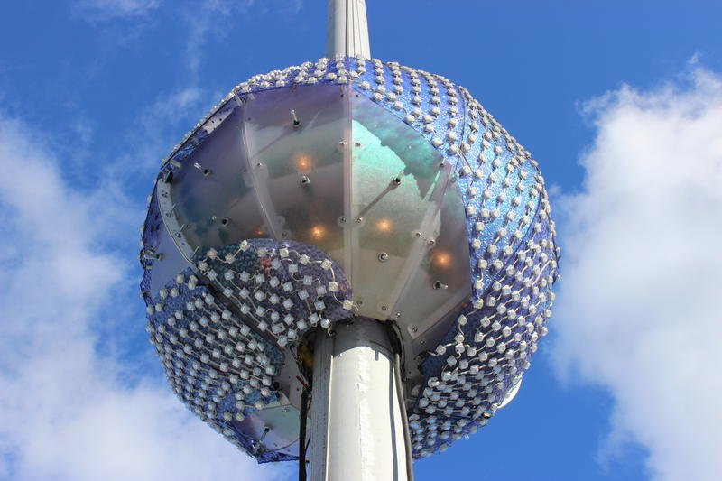 The countdown ball used for Pittsburgh's First Night celebration weighs 1,200 pounds and is covered in 1,000 LED lights.