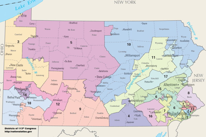A map of Pennsylvania's 18 congressional districts, as of the boundaries determined in 2013.