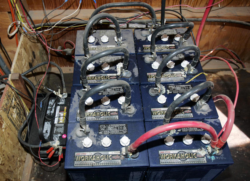 Batteries for a solar power system are shown here at a home in the Three Rivers Recreational Area, in Lake Billy Chinook, Ore., Thursday, April 26, 2007.