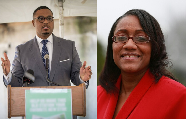 Democrat Austin Davis (left) is running against Republican Fawn Walker Montgomery in the special election to replace former state Rep. Marc Gergely in Pennsylania's 35th House District.