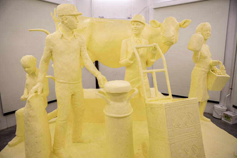 A sculpture carved from a half-ton of butter in preparation for the 102nd Pennsylvania Farm Show, scheduled from Saturday, Jan. 6, through Saturday, Jan. 13, at the Pennsylvania Farm Show Complex and Expo Center in Harrisburg, Pa.