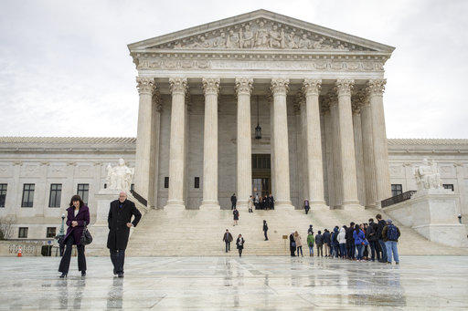 People stand on the plaza of the U.S. Supreme Court in Washington to attend arguments Tuesday, Jan. 9, 2018. Pennsylvania GOP are asking the high court to take on the state's controversial gerrymandering case.