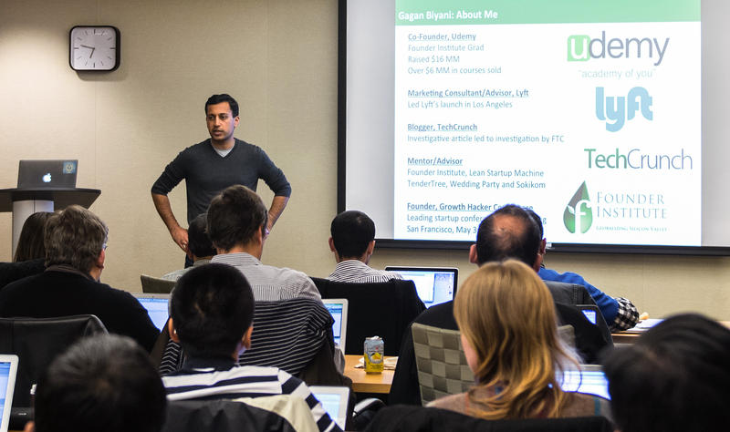 Gagan Biyani, co-founder of the online learning platform Udemy, speaks at the San Francisco Founder Institute in 2015. Biyani is a graduate of the Founder Institute and now serves as a mentor in the program.