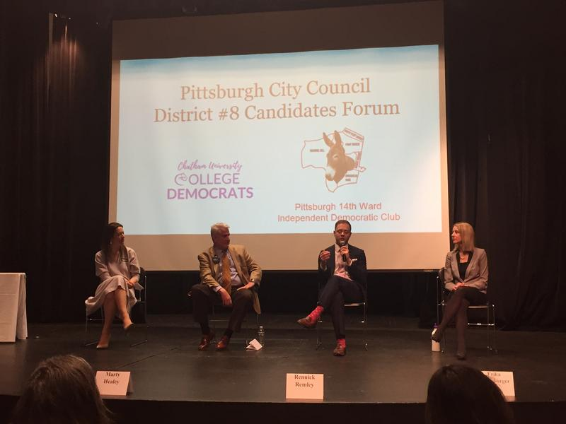 Candidates for Pittsburgh's District 8 City Council seat at the first debate on Jan. 28, 2018. From left to right: Sonja Finn, Marty Healey, Rennick Remley and Erika Strassburger.