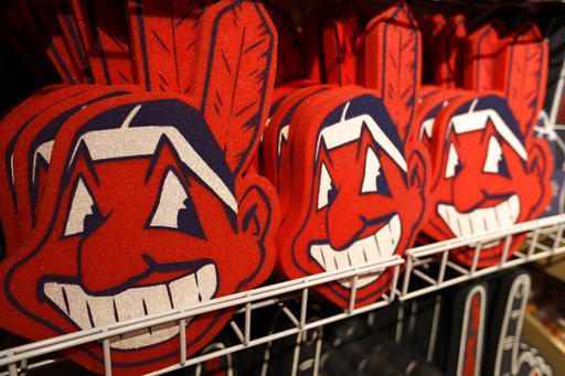 Foam Chief Wahoos line the shelf at the Cleveland Indians team shop, Monday, Jan. 29, 2018, in Cleveland. Divisive and hotly debated, the Chief Wahoo logo is being removed from the Cleveland Indians' uniform next year.