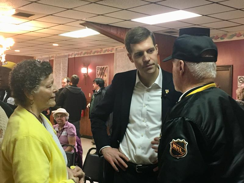 Former federal prosecutor Conor Lamb (D - Mt. Lebanon), center, is running against state Rep. Rick Saccone (R - Elizabeth) in Pennsylvania's 18th Congressional District.