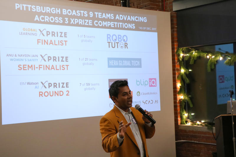 Sanchoy Gupta speaks at an event on December 12, 2017 celebrating the success of Pittsburgh's XPRIZE teams. Gupta is the founder and CEO of BlipIQ, a website designed to help people with memory loss keep track of their memories digitally.
