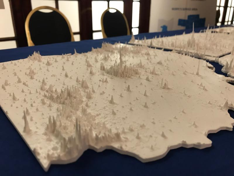 A 3-D printed map shows the density of populations across Ohio, Pennsylvania and West Viriginia. The maps were used in the region's successful bid to be selected as a semi-finalist in the Hyperloop One challenge.
