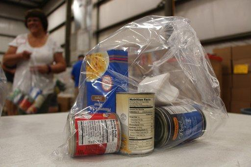 Pictured is a bag of food packed by a volunteer for the Second Harvest Food Bank in Nazareth, Pa. The Central Pennsylvania Food Bank has a MilitaryShare program that gives away thousands of pounds of food to military families.