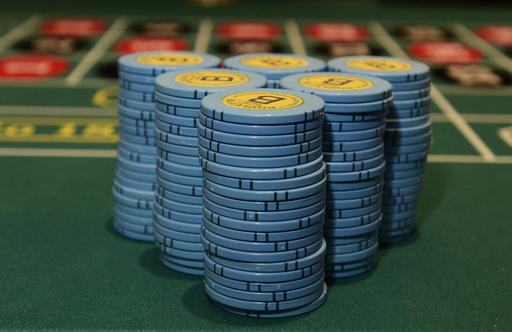 Gaming chips sit stacked on a roulette table at Tioga Downs in New York.