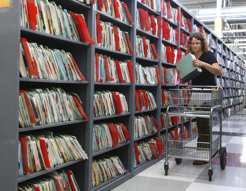Pictured are inmate medical records at a facility in Sacramento, Calif.