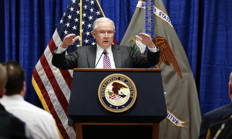 Attorney General Jeff Sessions speaks to a group of local law enforcement representatives about the opioid epidemic and violent crime on Monday, Jan. 29, 2018, in Pittsburgh.