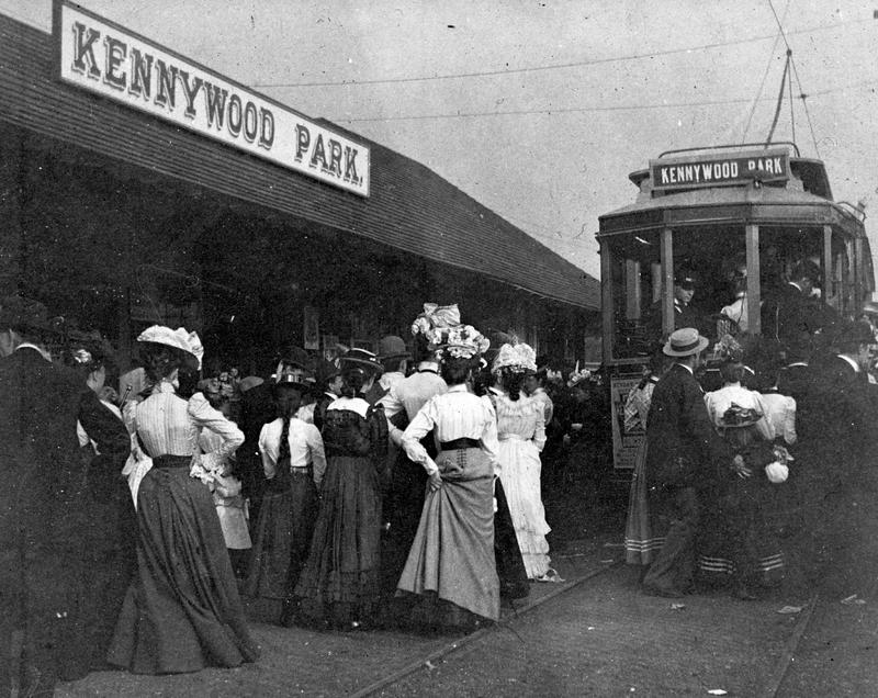 "Kennywood Park patrons board a trolley in the early 1900s. The park was originally built as  ""trolley park,"" meaning it was a recreational area for picnics and get togethers at the end of a trolley line. Here, it was the Monogahela Street Railways Co."