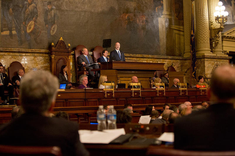 Gov. Tom Wolf delivers his 2015-16 budget speech to members of the Pennsylvania House of Representatives.
