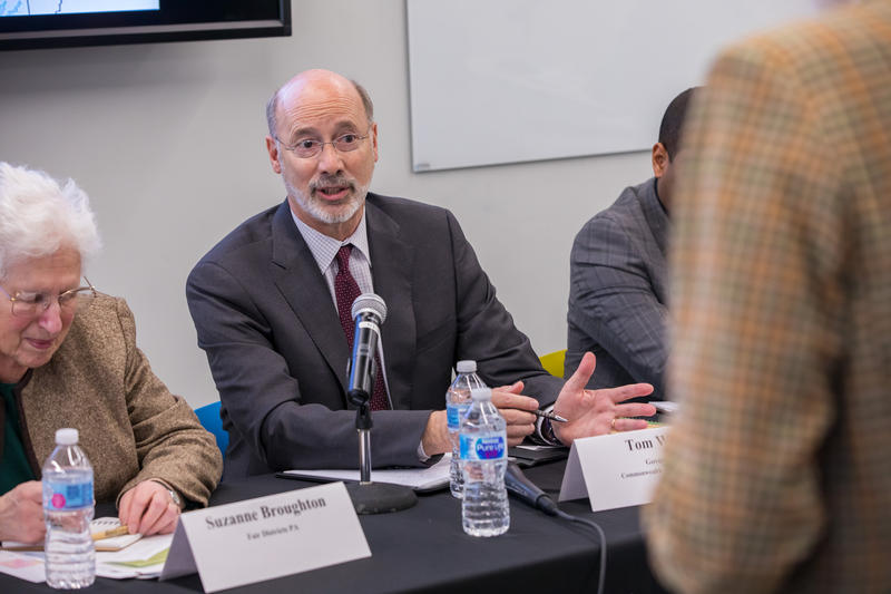 Governor Wolf addressing a concern about redistricting Pennsylvania's congressional map at Point Park University on Thursday, Feb. 1, 2018.