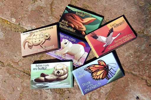 """Pictures are condom packages designed by Lori Lieber from the center's """"Endangered Species Condoms"""" series."""