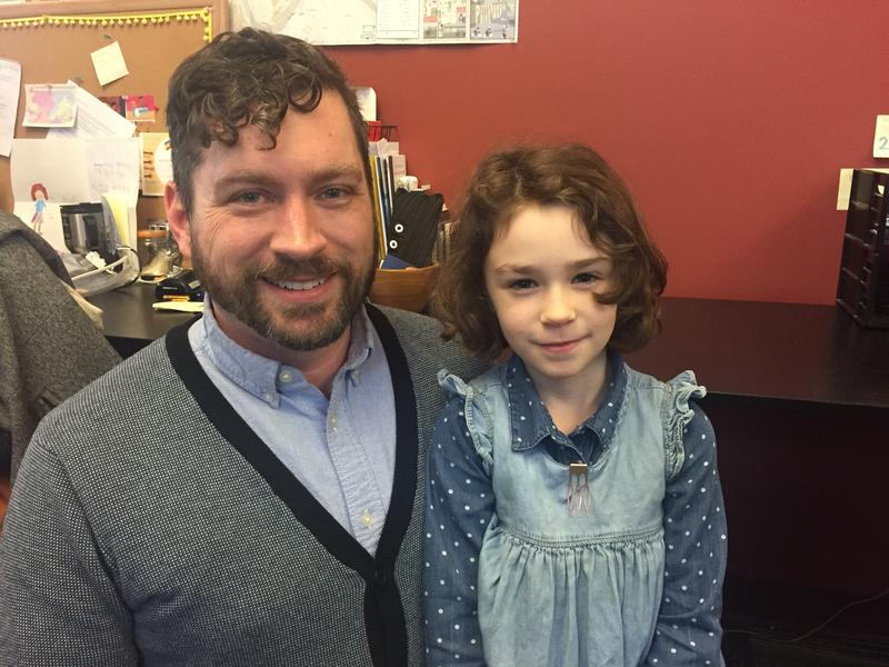 Riley Baker and his daughter, Luna, both enjoy watching Mr. Rogers' Neighborhood, but Luna more often watches the animated spinoff, Daniel Tiger's Neighborhood. The two shared their love for the Neighborhood of Make Believe on Thursday, Feb. 15, 2018.