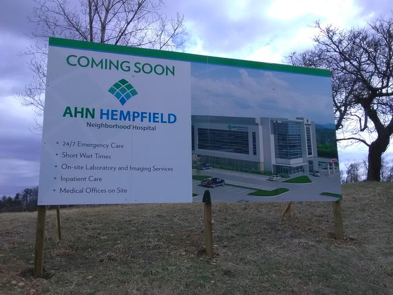 Sign announcing new micro hospital in Westmoreland County, at the corner of US 30 and Agnew Road.