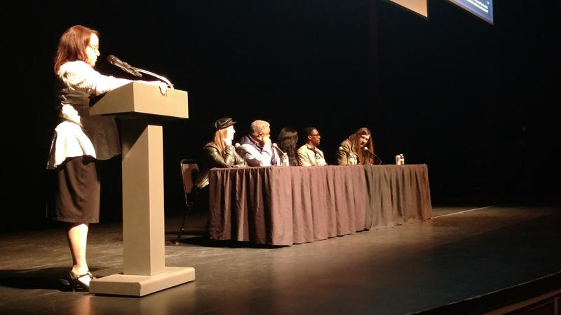 Panel members at the Pittsburgh Music Ecosystem Project forum at the Kelly Strayhorn Theatre.