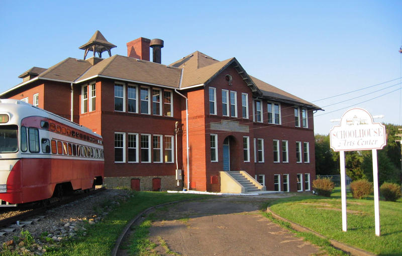 The old Bethel Grade School building in Bethel Park, a suburban community south of Pittsburgh. The 1949 Port Authority trolley out front was restored by Bethel Park Historical Society volunteers in 2017.
