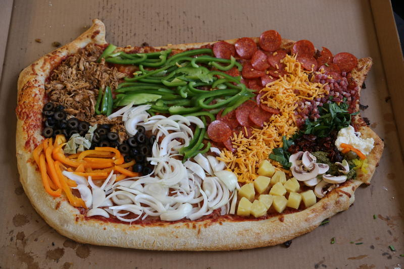 The 90.5 WESA newsroom recreated the state's congressional map on a pizza, because why not?