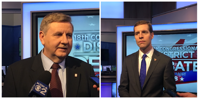 State Rep. Rick Saccone (R-Elizabeth) and former federal prosecutor Conor Lamb (D-Mt. Lebanon) speak with reporters following their first televised debate Monday, Feb. 19, 2018.