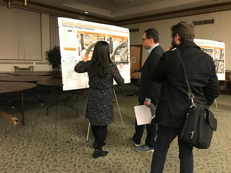 Transportation engineer Kristel Bassett talks with Beechview residents about options for reconstructing Broadway Avenue.